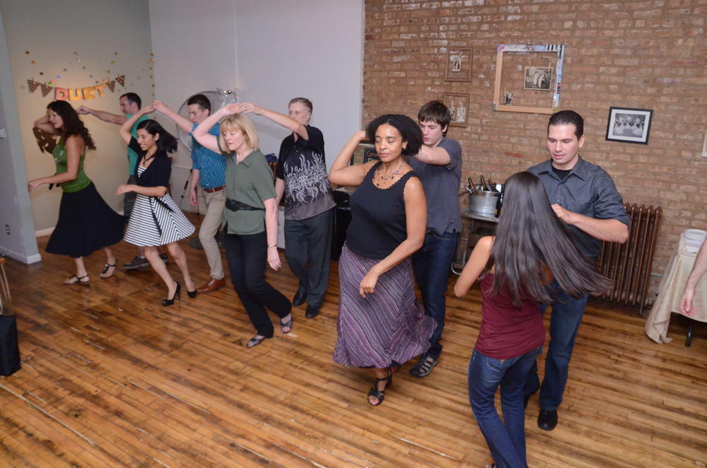 Guests leaning to swing at a dance party.Perfect celebration for birthdays and holidays.