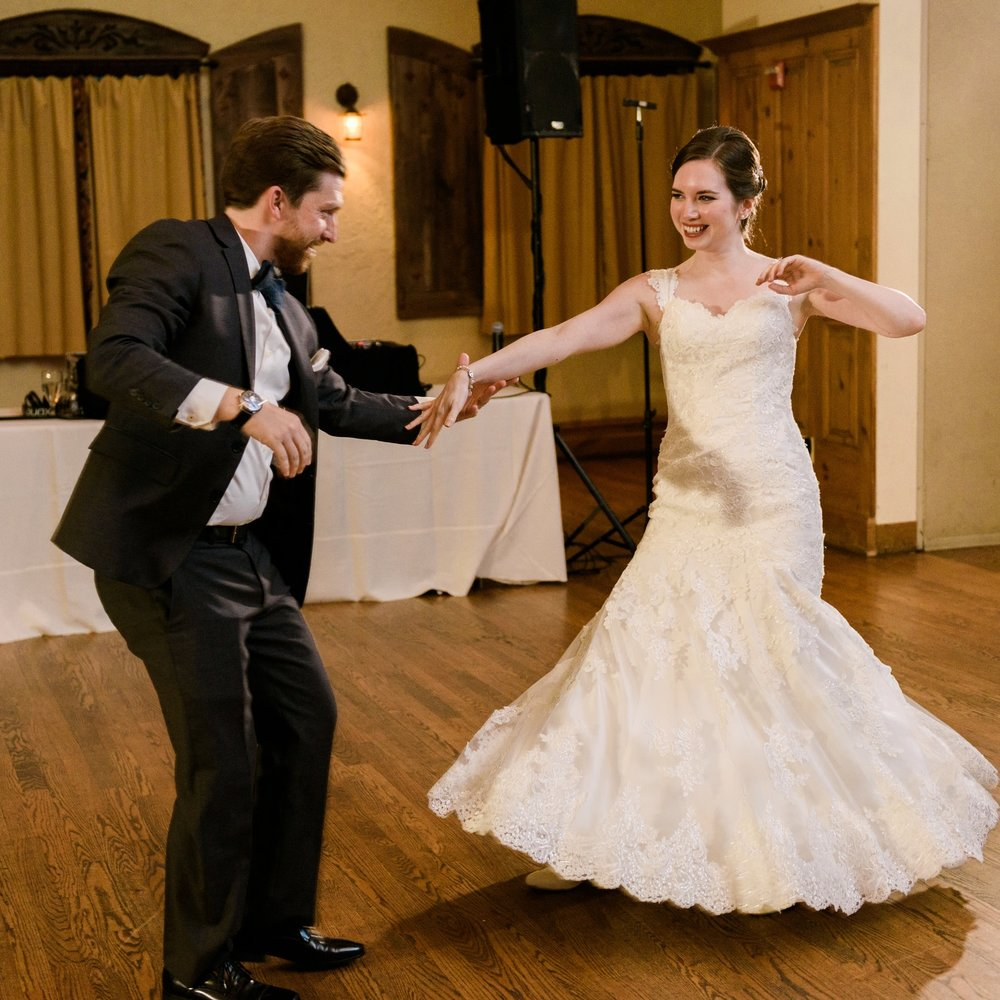 Duet's students, Anne and Steve, dancing at their wedding.  Photo by Keren Sarai Photography