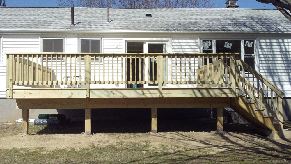 16'x20' Pressure treated deck. (Also: Harvey 6' slider, and Harvey custom replacement window.)