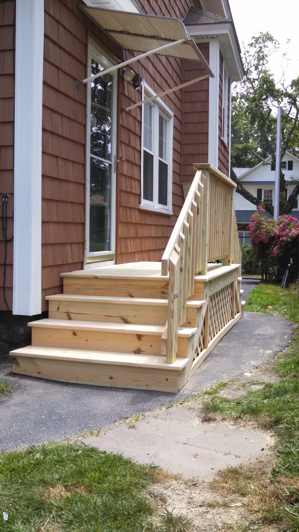 Deck built over existing stairs