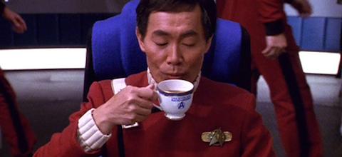 Sulu loves his Twinings. I'm thinking Irish Breakfast.