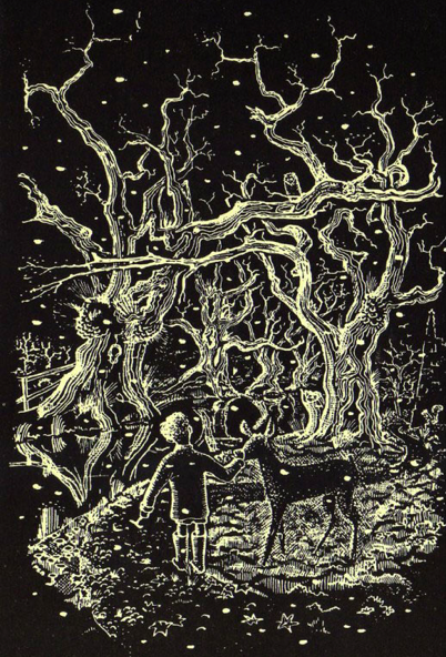 unapologetic-book :     Advent calendar 7: illustration by Peter Boston to Lucy Boston's   The Children of Green Knowe   (1954).  Text to go with it tomorrow.