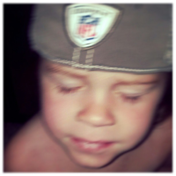 Morning blur. Found this little NFL pixie wearing her own Bucs gear. #earlyfathersday