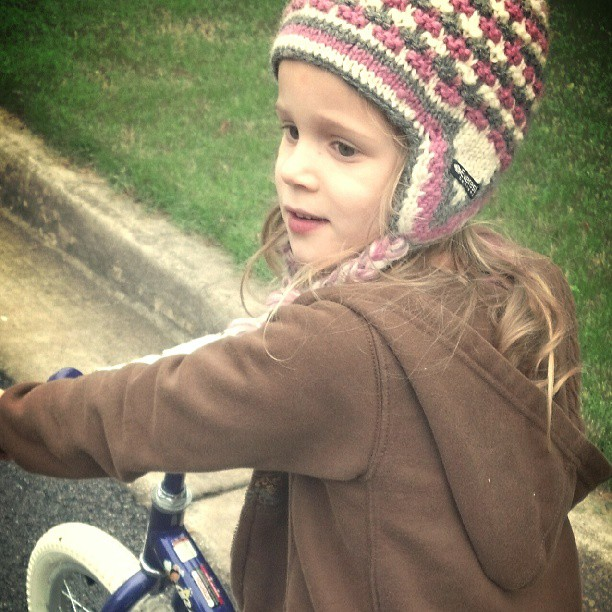 Her new daily ritual bike ride. Can't wait to hit the trails with her!