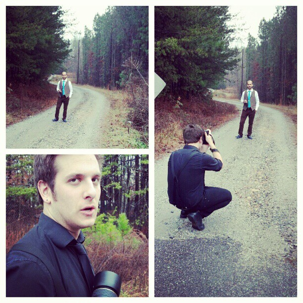 Sam shooting Jordan on some backwoods-north-Georgia road #vancewedding