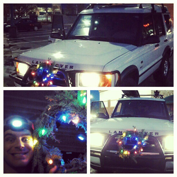 Ho Ho Ho! Decking the Rover. The Great White North Adventure begins…(and yes, that is a homemade LED wreath)