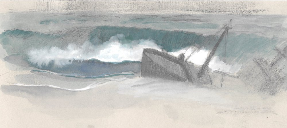 Sketch of Imagined Shipwreck, pencil and ink.