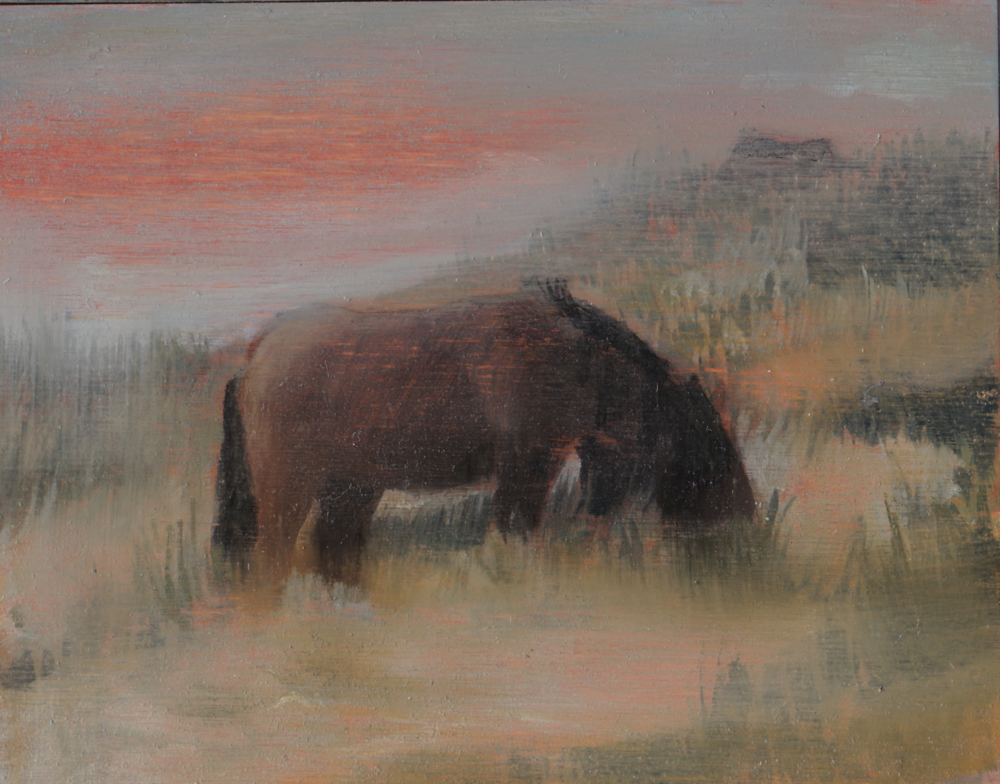 "Sable Horse/ 4 x 5"" / oil on Birch Panel"