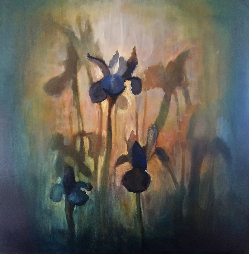 "The Dream Irises / 30 x 30"" / oil on Birch Panel"