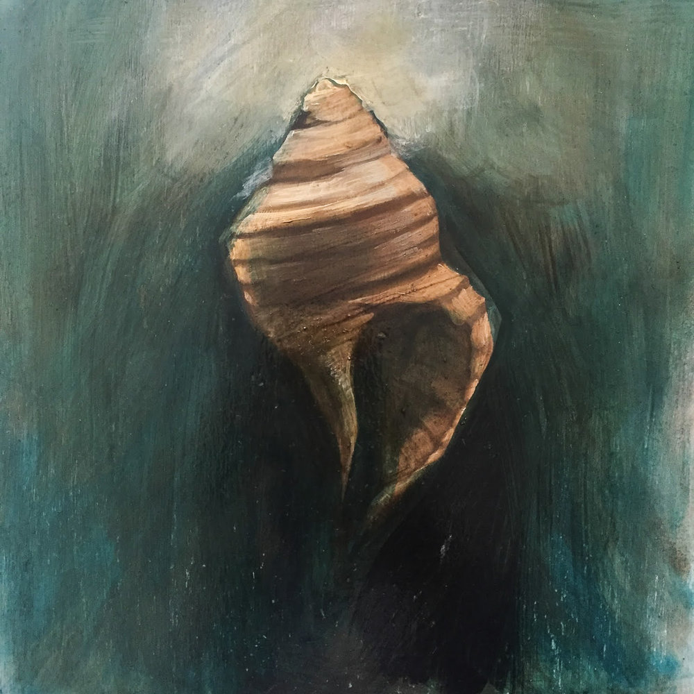 "Whelk in Emerald Light / 10 x 10"" / oil on birchwood panel"