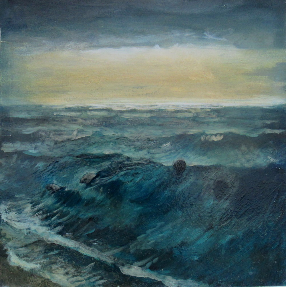 "Seals in the Surf / 8 x 8"" / oil on birchwood panel"