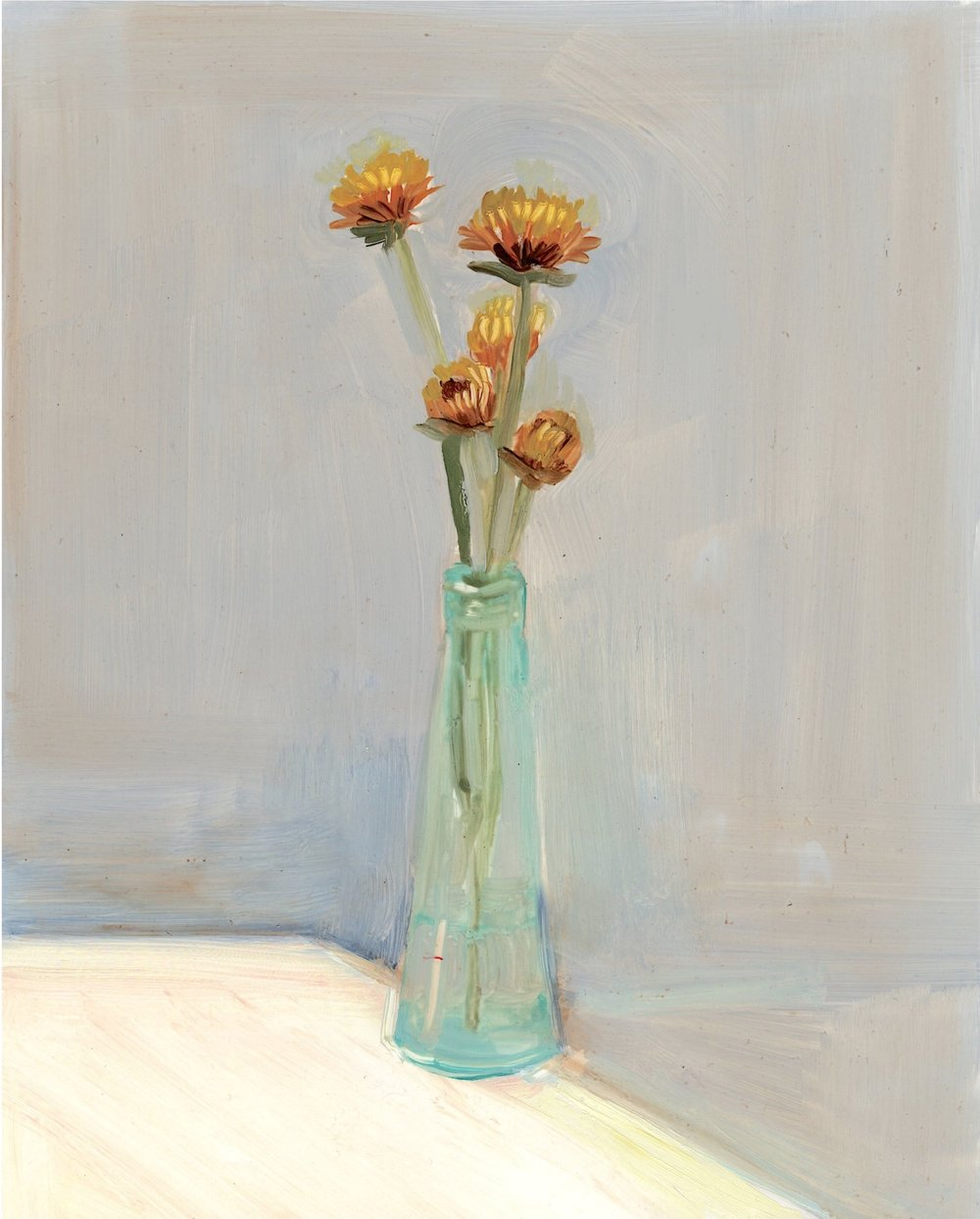 Straw Flower in Teal Vase