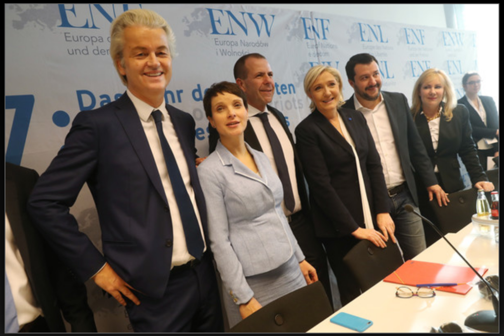 Koblenz: Geert Wilders, Netherlands; Frauke Petry, Germany; Harald Vilimsky, Austria; Marine Le Pen, France; Matteo Salvini, Italy; Janice Atkinson, UK