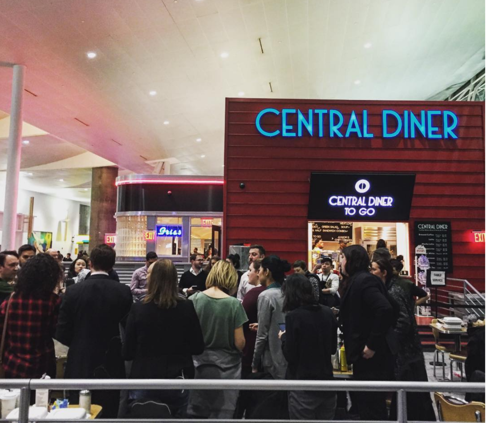 Lawyers & supporters at work, Central Diner, Terminal 4, JFK, January 28, 2017