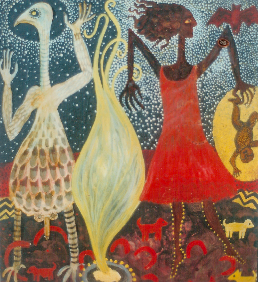Emu and red dress woman, 1997