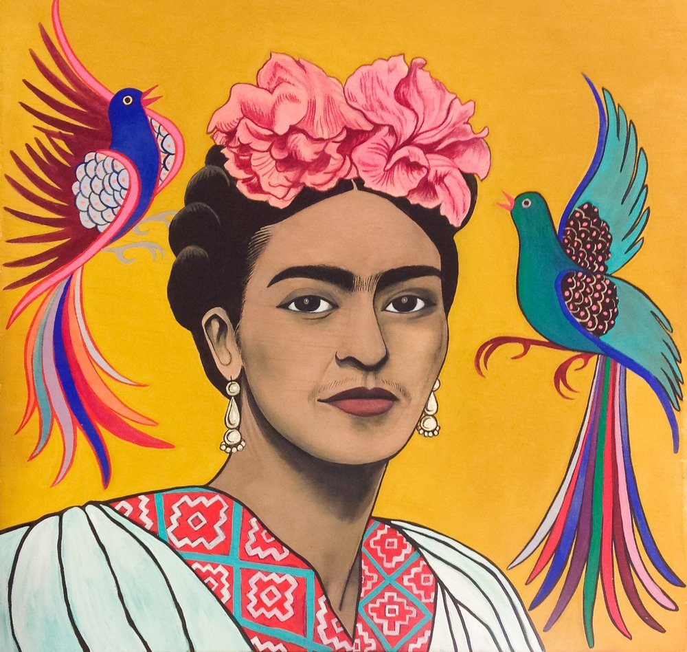 Frida Kahlo with embroidered birds, 2015