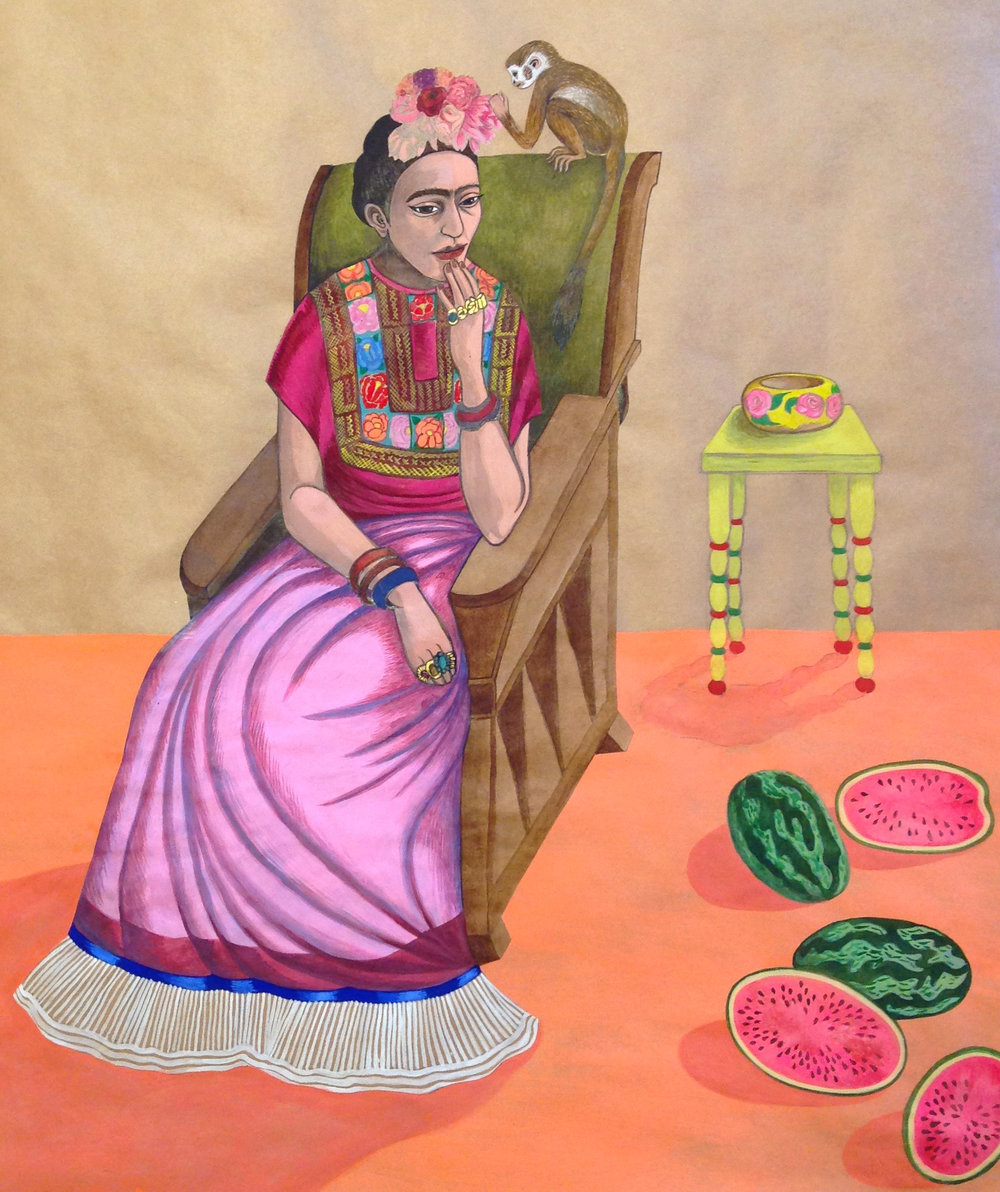 Frida Kahlo with monkey, 2015