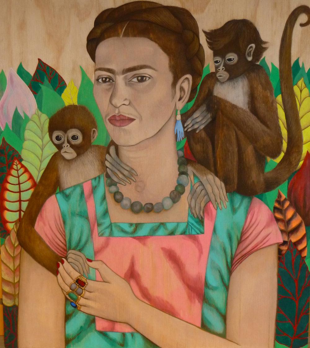 Frida Kahlo and monkey twins, 2016