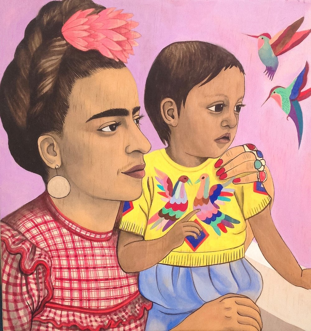 Frida Kahlo and child with hummingbirds, 2015