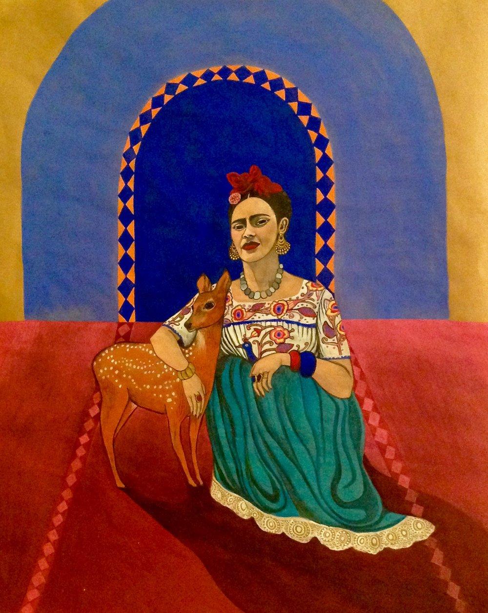 Frida Kahlo and deer, 2015