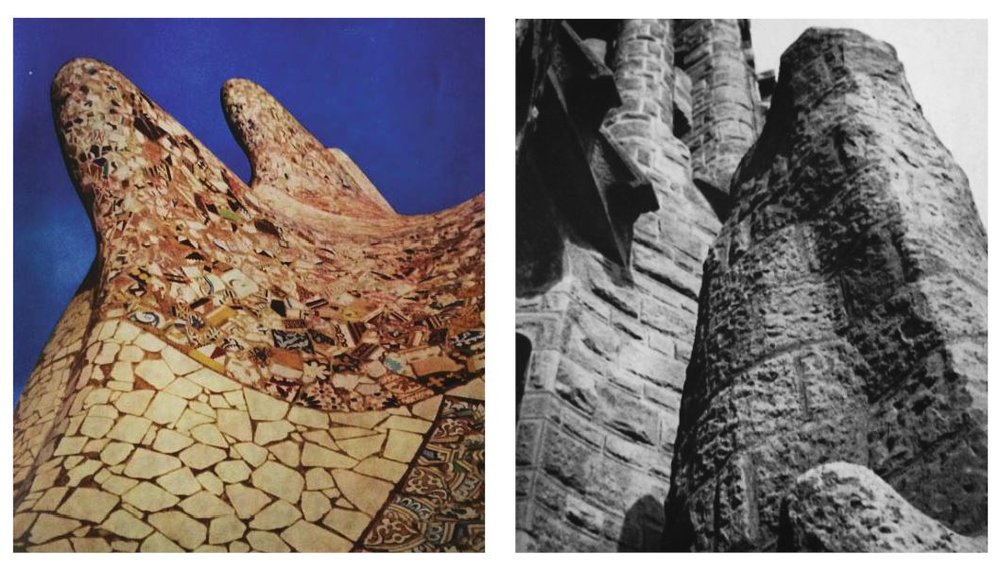 Image: Organic form and new forms of ornament; broken ceramic & pottery,   Antoni Gaudi, New York, 1961