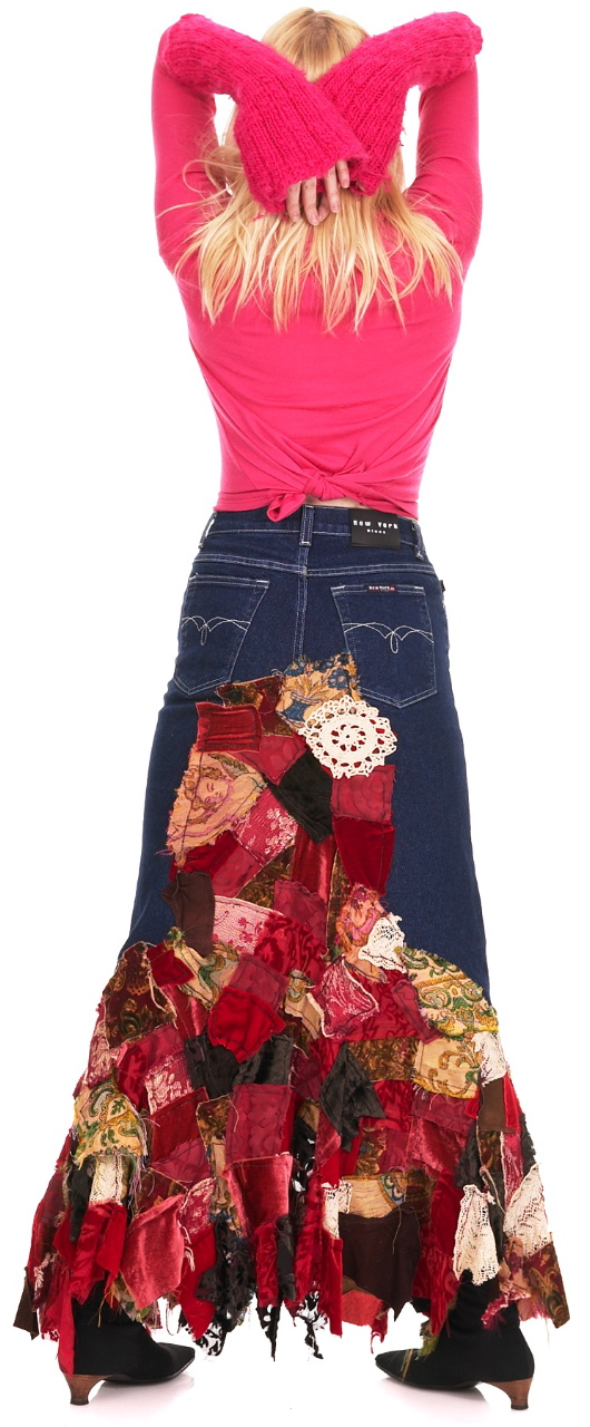 Skitzo Skirtz: Cherished Denim Collection, 2001  Reclaimed denim, silk chiffon, silk velvet, vintage and antique textiles and lace, machine pieced and stitched. By Shelita Birchett Benash