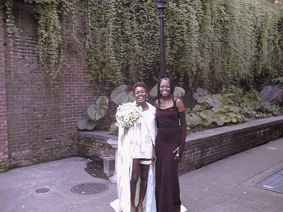 Donna McElroy and Shelita Birchett Benash, 1998.  Donna on the day she married Joseph McElroy.