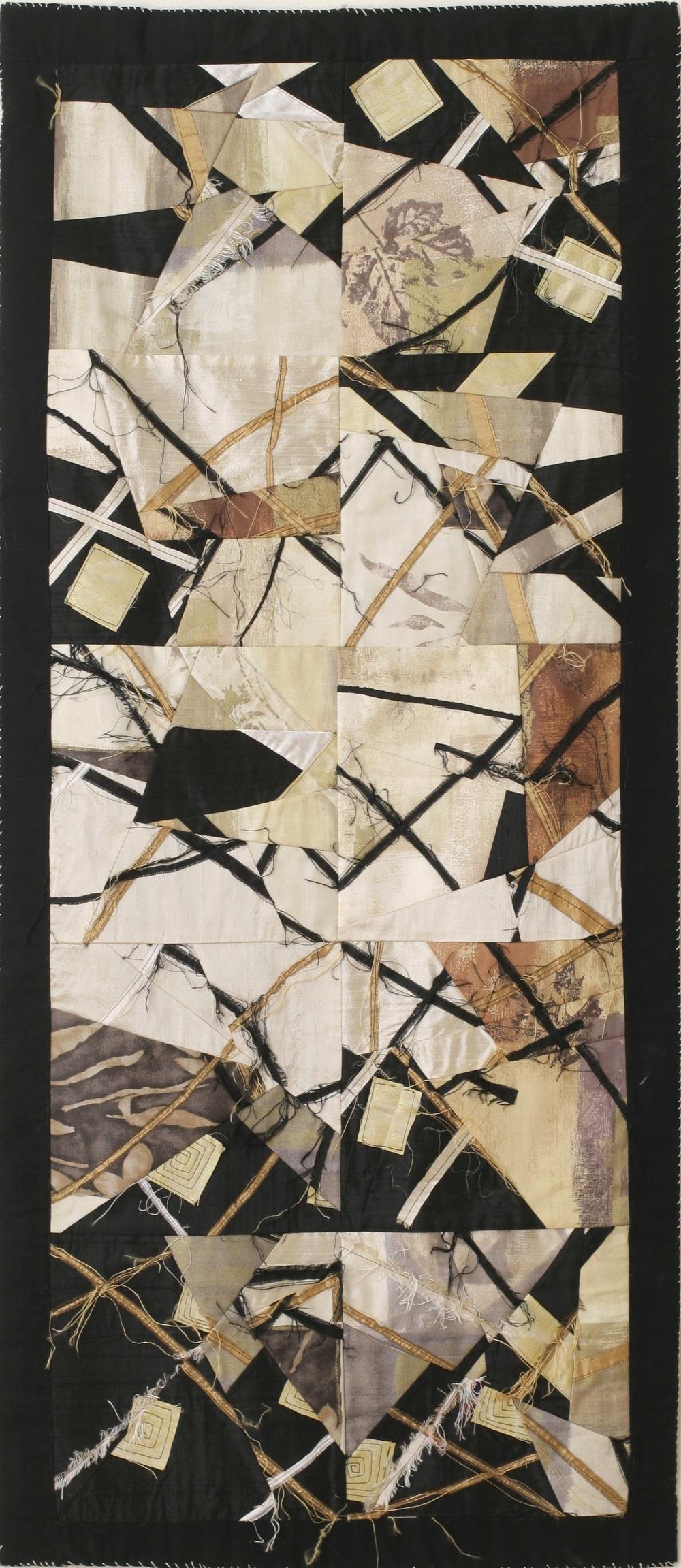 """First Winter in Beacon:"" Salvaged upholstery fabric and silk by Shelita Birchett Benash, 2004."