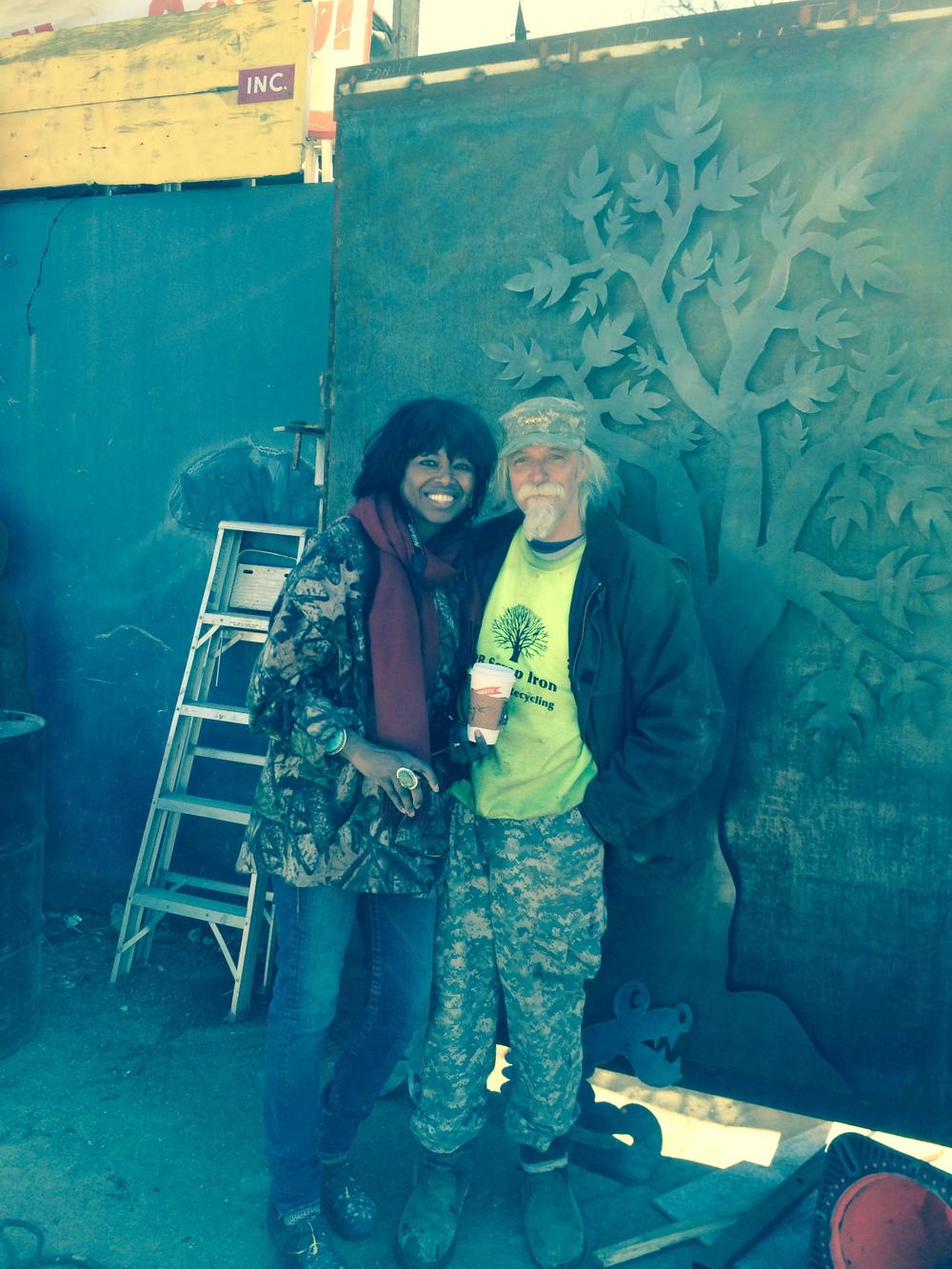 Richard and Shelita Benash in front of the mural in progress. 4/7/14.  I'm always holding the camera! Thank God, Claudia Steinberg was there to photograph Richard and me. Thanks, Claudia!!! It was so wonderful meeting you.