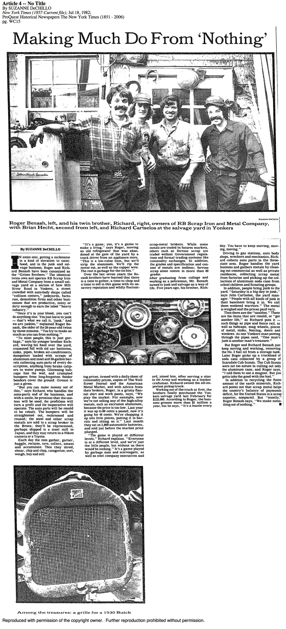 RB Scrap Iron New York Times 1982