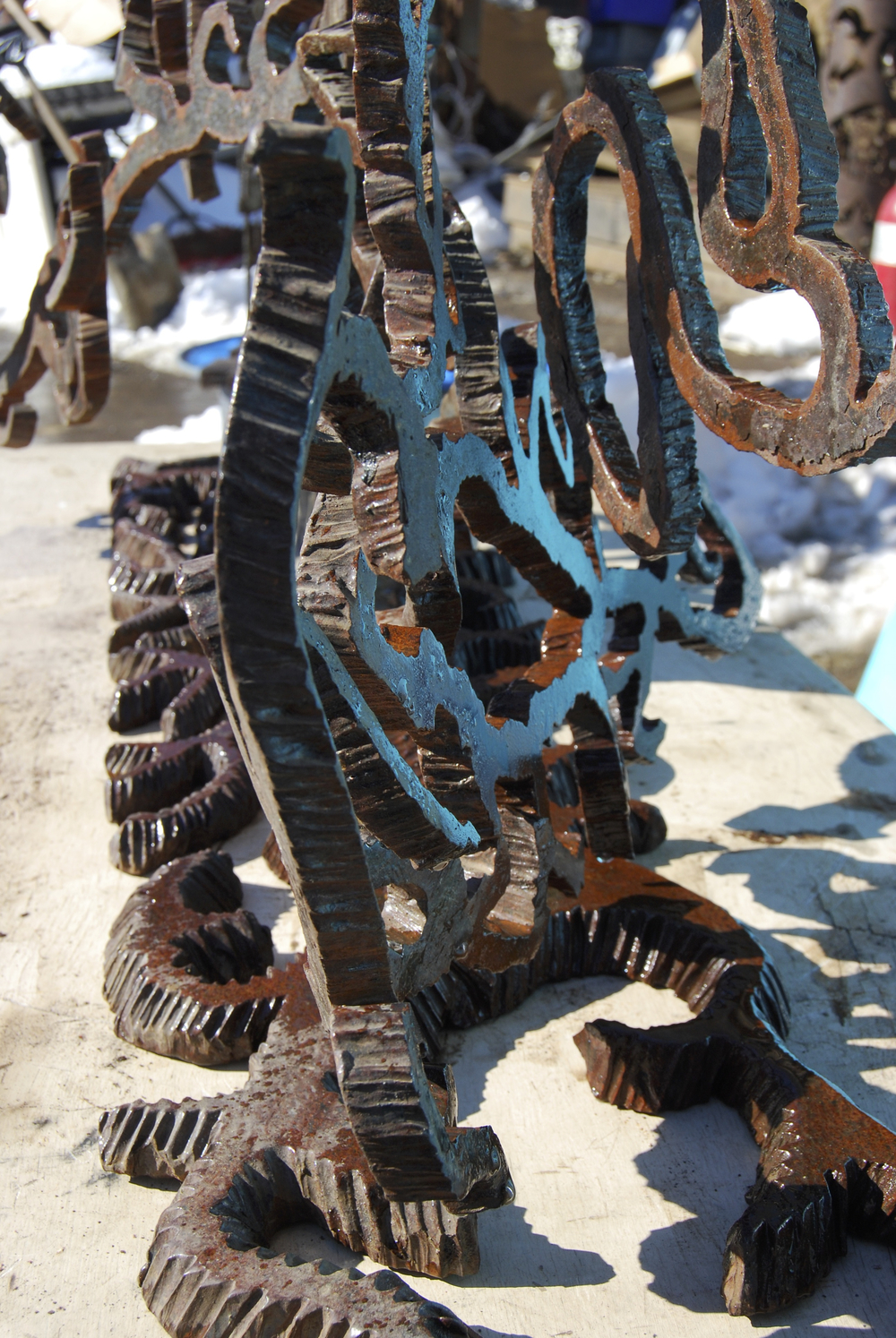 """Eden"" Salvaged Bridge I-Beam Steel Sculpture by Richard Benash"