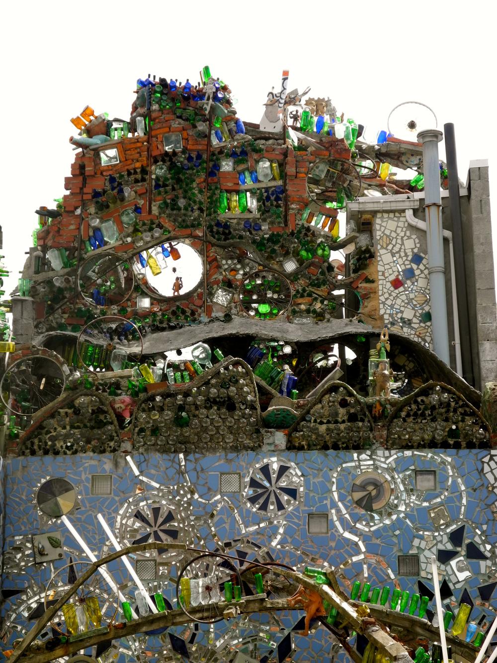 Isaiah Zagar Magic Garden Mosaic Mural Sculpture.