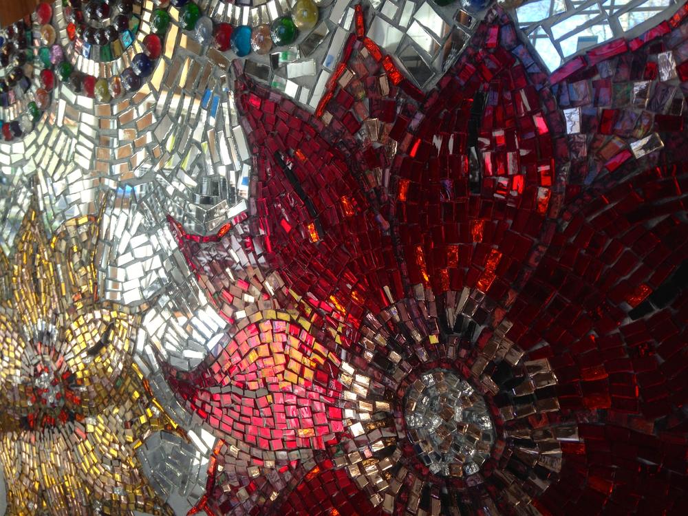 """Flower Power"" Hand cut glass mirror flower mosaic bench up-cycle by Shelita Birchett Benash. Work in progress. 5/6/14."