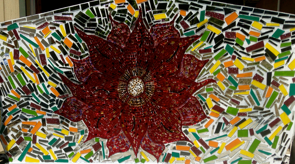 Hand Cut glass mirror and salvaged vintage stain glass mosaic flower bench. Back. Work in progress.