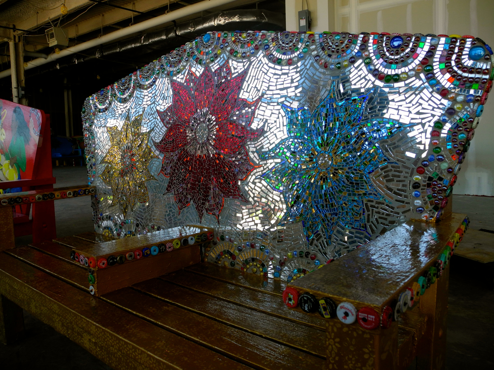 Richard and I dropped off my glass mirror mosaic mixed media bench in Stamford. 5/21/14.