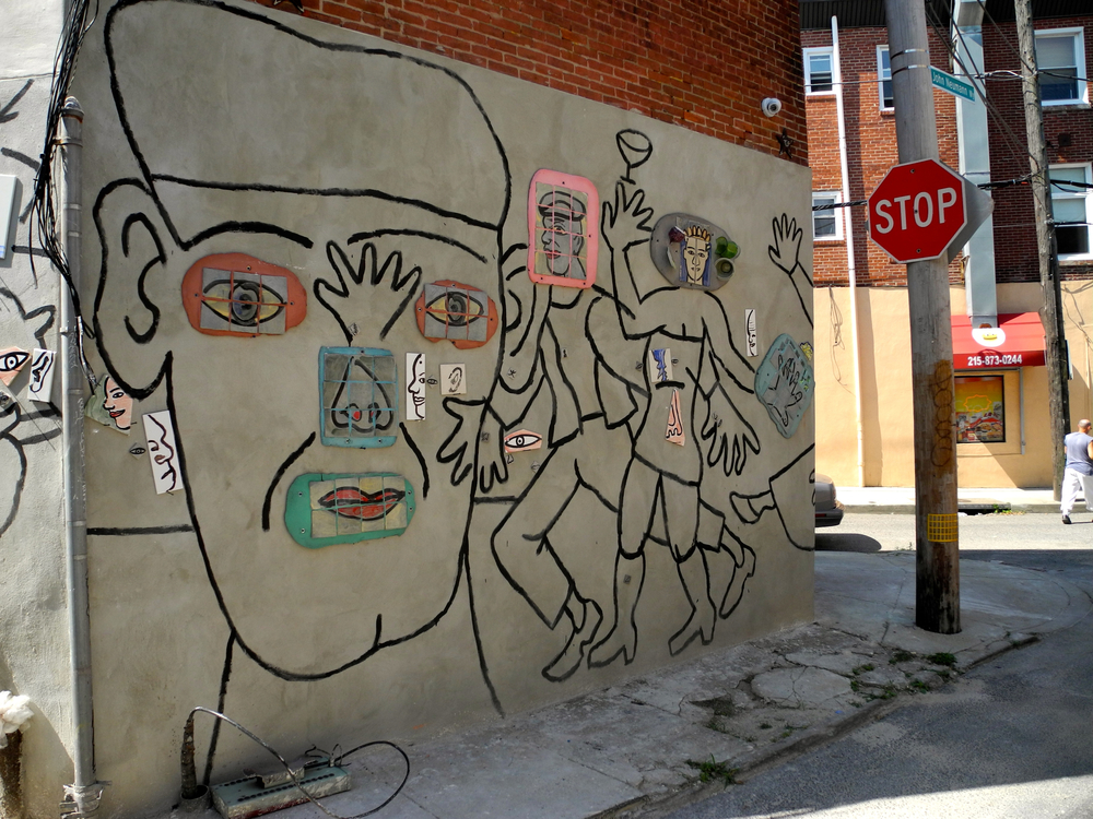 Zagar painted and prepared the mural with mosaic and sculptural elements, he calls 'blobs,' before our arrival.