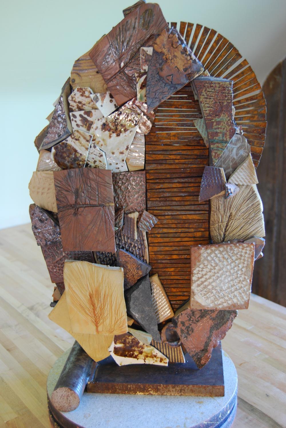 """Ceramic, stone, 24 KT smalti, salvaged steel. 21""""H x 14"""" W x 9""""D. 2014. Side B F"""