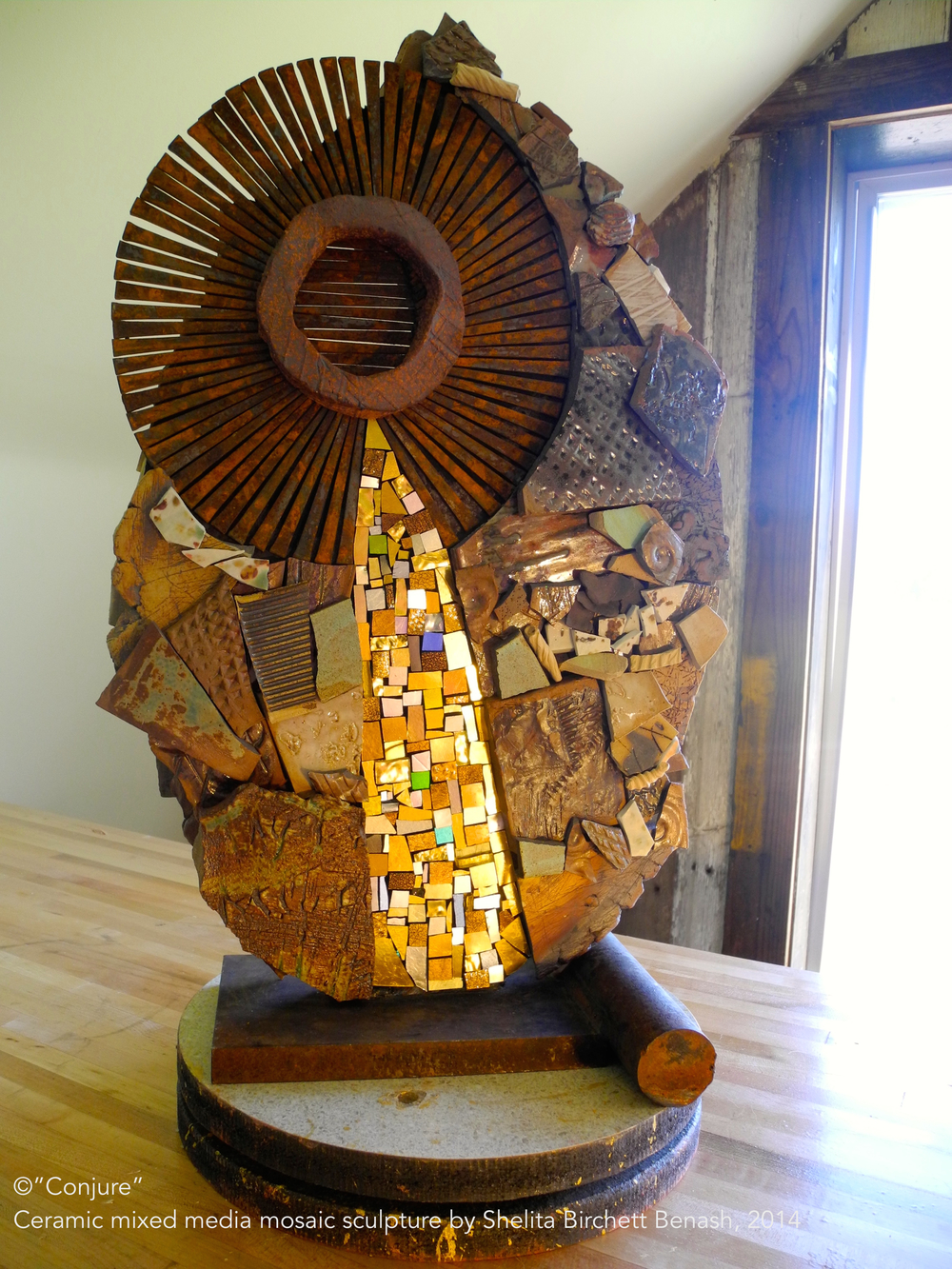 """Conjure"" ceramic mixed media mosaic sculpture by Shelita Birchett Benash, 2014.   22""H X 14""W X 9""D  Side A"