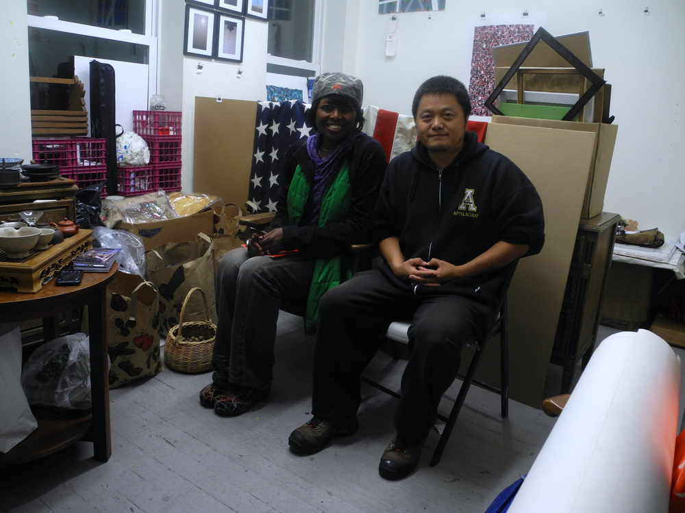 Visiting with artist, Xuewu Zheng at his Art Centro studio. 10/23/14.