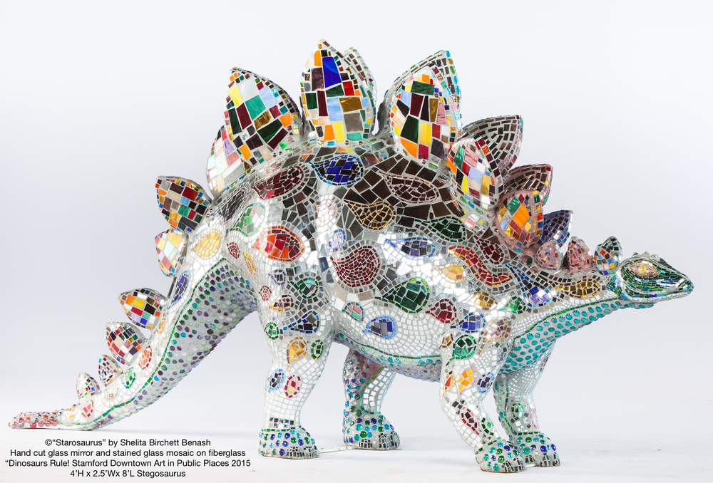 Dinosaurs Rule! Stamford Downtown Art in Public Places Starosaurus glass mirror and stained glass mosaic by Shelita Birchett Benash 2015. Stegosaurus