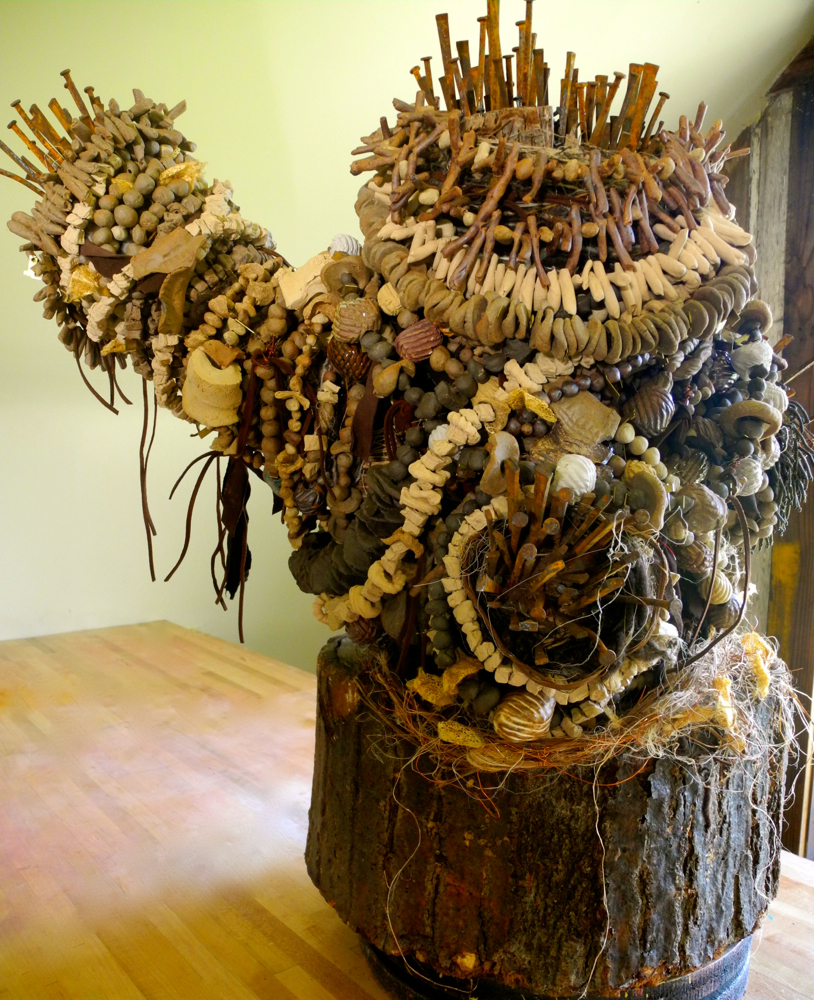 Offering   High Fire Ceramic Mixed Media Sculpture by Shelita Birchett Benash