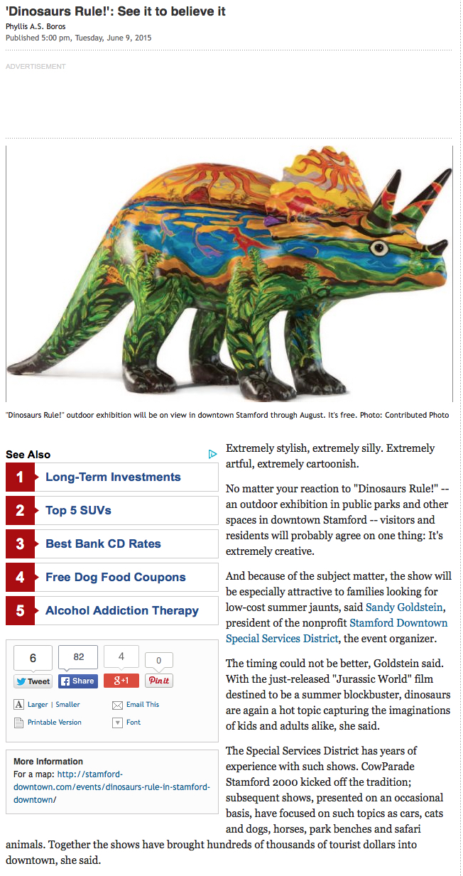 CT Post_Stamford Downtown_Dinosaurs Rule 2015_Shelita Birchett Benash_Starosaurus