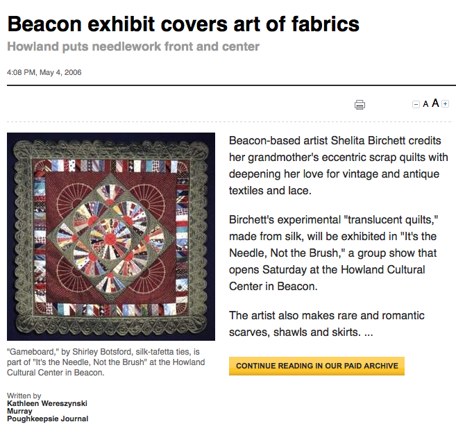 Poughkeepsie Journal_Beacon Exhibit Covers Art of Fabrics_Shelita Birchett Benash_2006