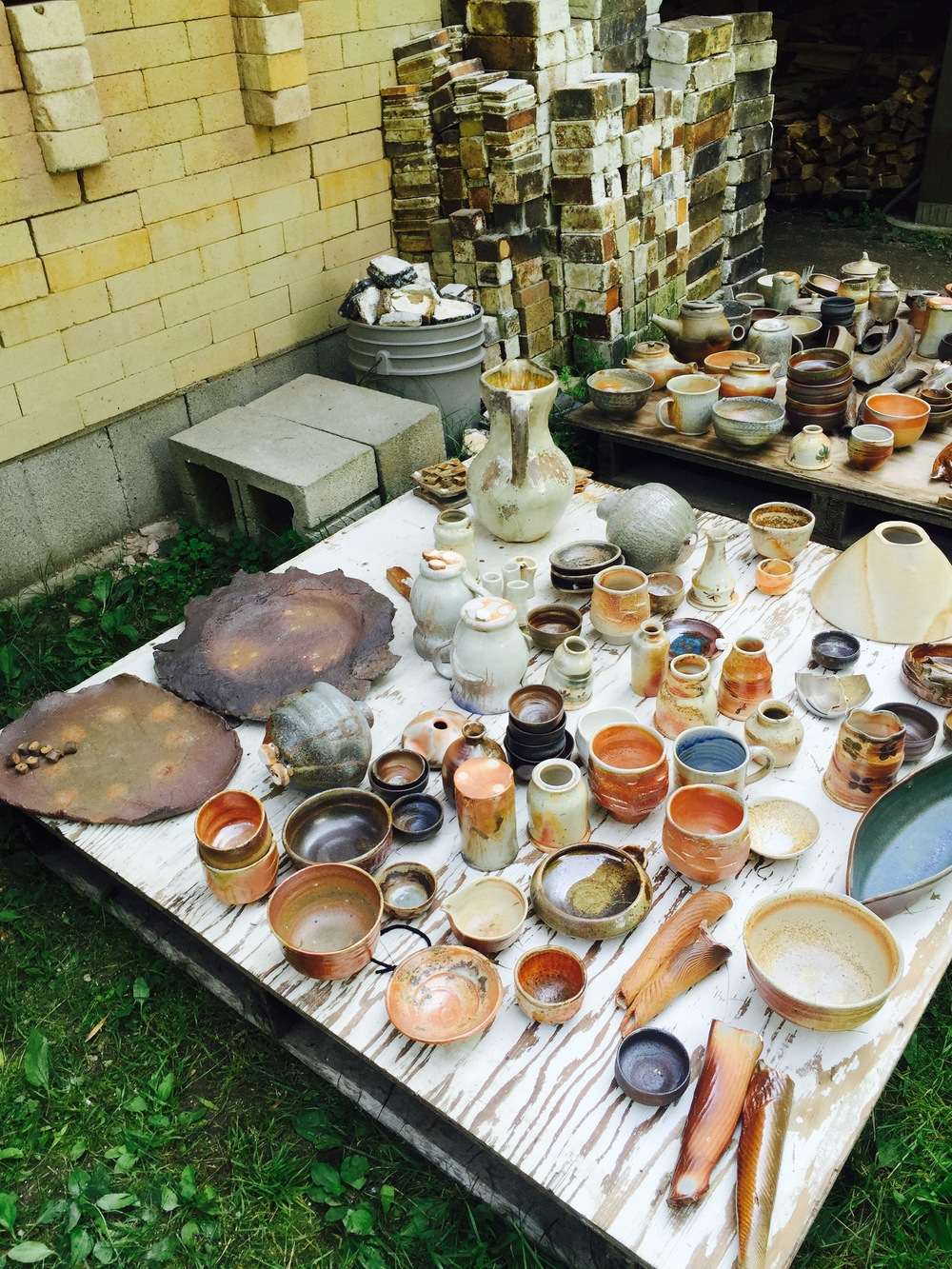 I missed the unloading of Tony Moore's wood kiln. However, when I arrived that Sunday, there was still lots of beautiful work for me to see from the firing. I was excited to discuss the results with Tony.
