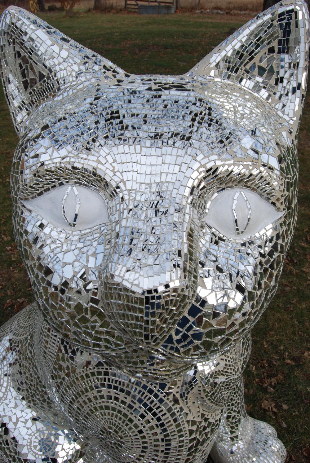 """Chloe"" Hand cut glass mirror mosaic by Shelita Birchett Benash. 5'H x 2.5W x 4'L. 2011."