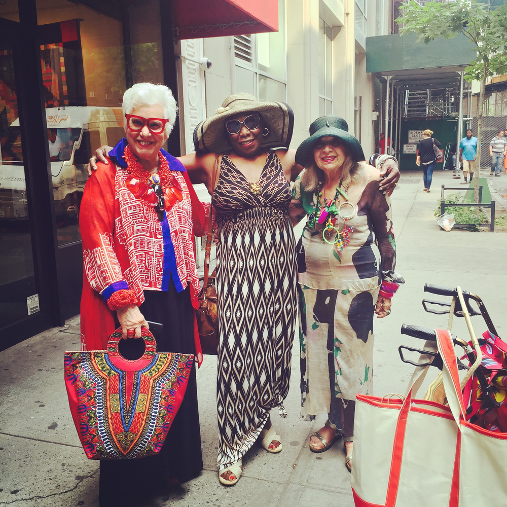 Prolific outsider artist and curator, Sue Kreitzman, my mother, Ruth Birchett and artist, Malcah Zeldis, outside the screening of  Fabulous Fashionistas , hosted by Sue at the Senior Planet in NYC .