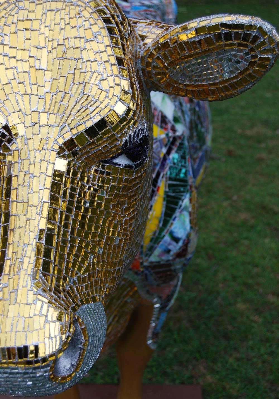 HOLY COW   !  RECYCLED   ART-GLASS MOSAIC SCULPTURE BY SHELITA BIRCHETT BENASH