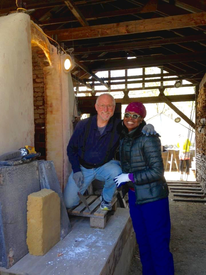 Shelita Birchett Benash with Tony Moore, sculptor and kiln master. I've learned so much in the year that I've been firing with Tony. I've met so many amazingly gifted potters and sculptors. I've been able to experience a sense of community, creativity and sharing with potters and sculptors from near and far. Catherine Thomas drives down regularly from Canada!