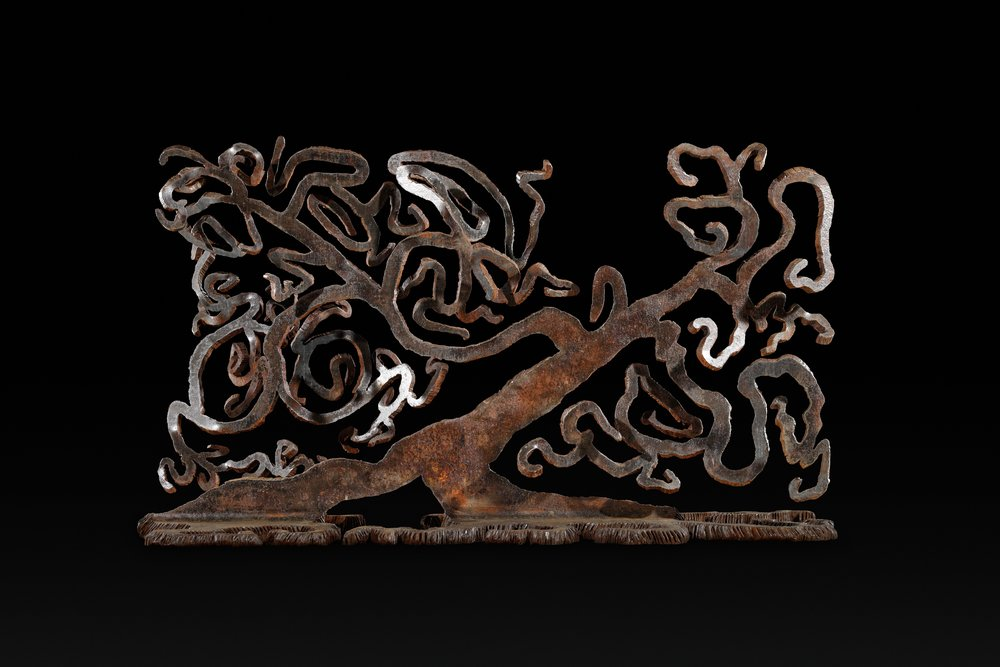 """Knowledge""   By Richard Benash  Salvaged bridge I-Beam steel, 58""W X 22""D X 36""H  ©Photograph by Jeremy Tressler"