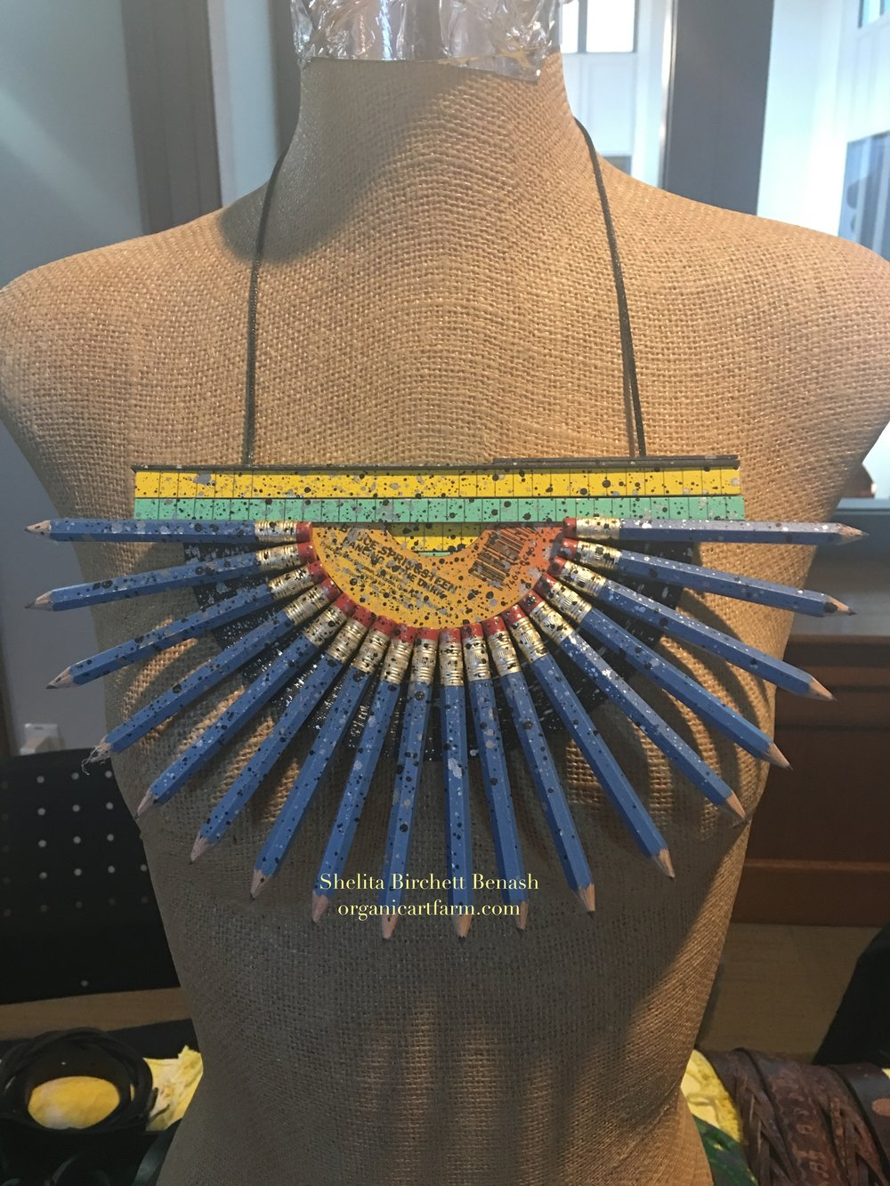 """On the Record"" sustainable art wear necklace by Shelita Birchett Benash  Marist College Ethical Fashion Fair 2017."